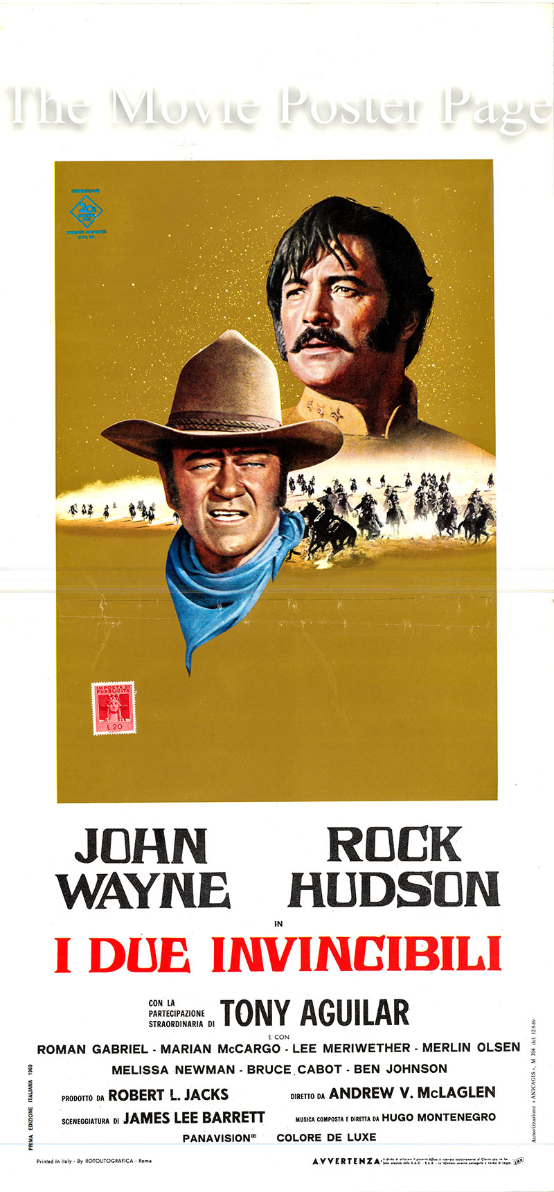 Pictured is an Italian locandina poster for the 1969 Andrew V. McLaglen film <i>The Undefeated</i> based on a story by Stanley Hough, screenplay by James Lee Barrett and starring John Wayne as Colonel John Henry Thomas.
