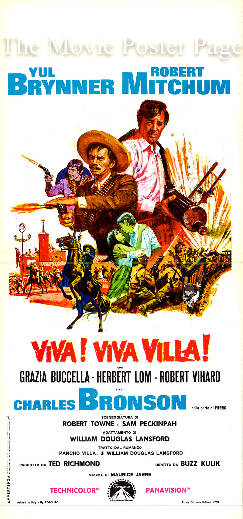 Pictured is an Italian locandina poster for the 1968 Buzz Kulik film Villa Rides starring Robert Yul Brynner as Pancho Villa.