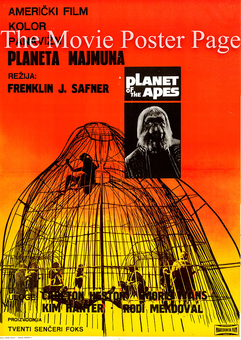 Pictured is a Yugoslavian poster for the 1968 Franklin J. Schaffner film Planet of the Apes starring Charlton Heston as George Taylor.