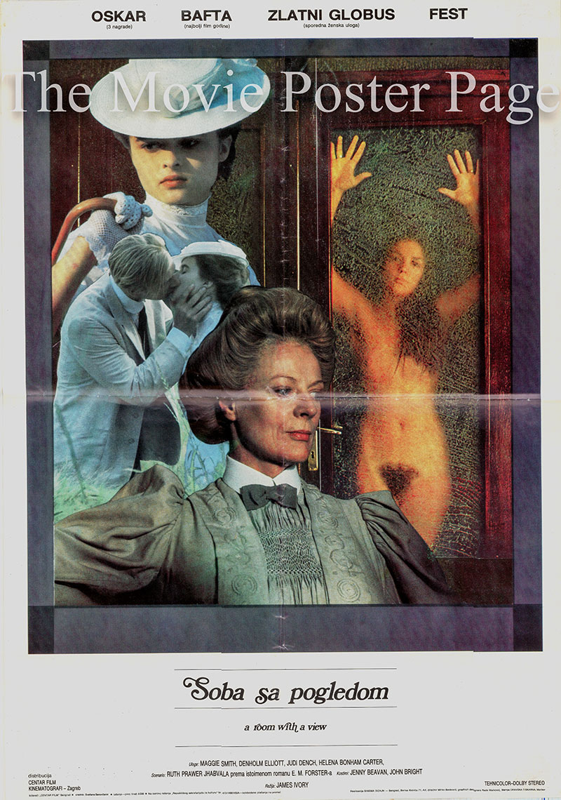 Pictured is a Yugoslavian poster for the 1985 James Ivory film A Room with a View starring Maggie Smith as Charlotte Bartlett.