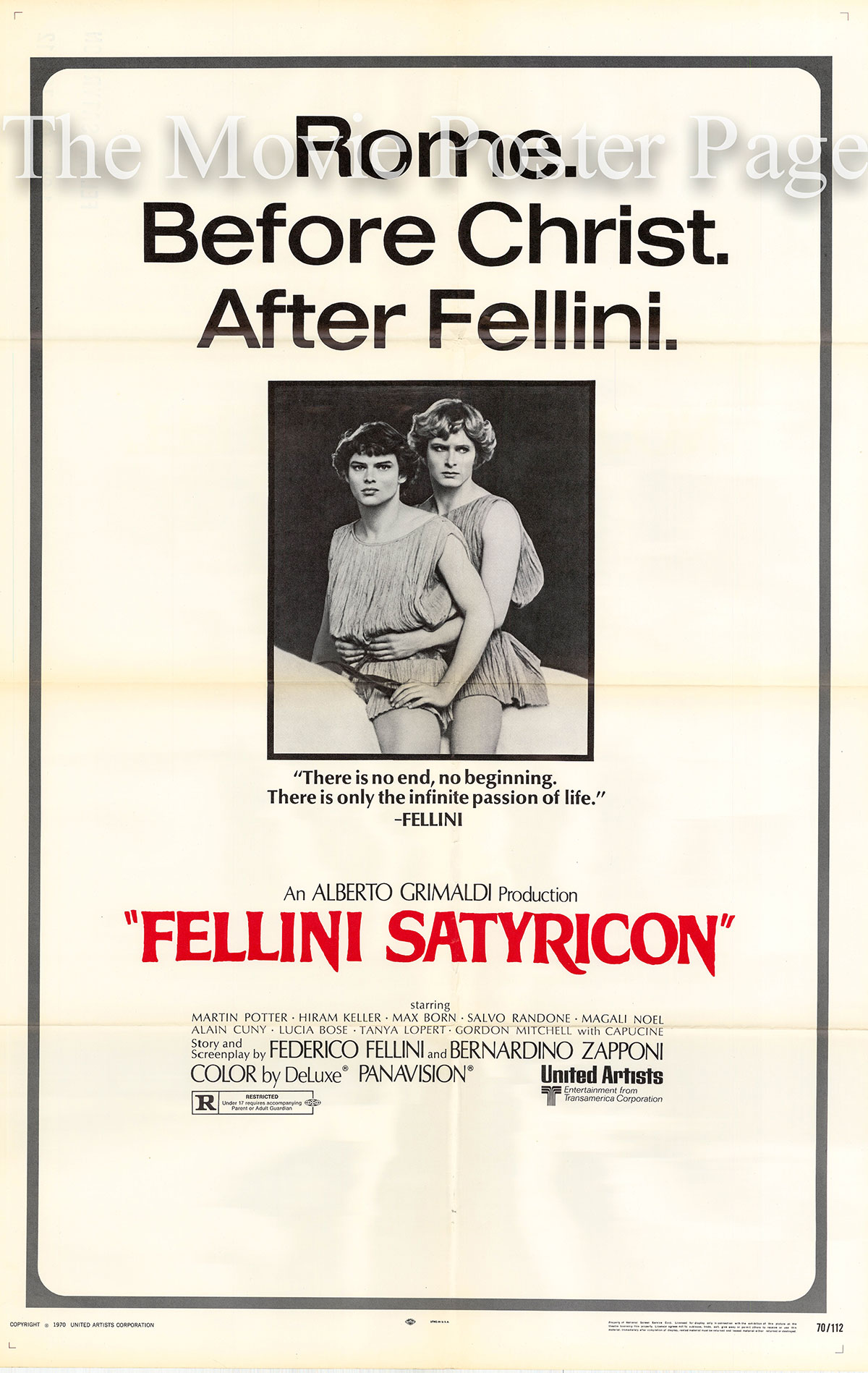 Pictured is a US one-sheet poster for the 1969 Federico Fellini film Satyricon starring Martin Potter as Encolpio.