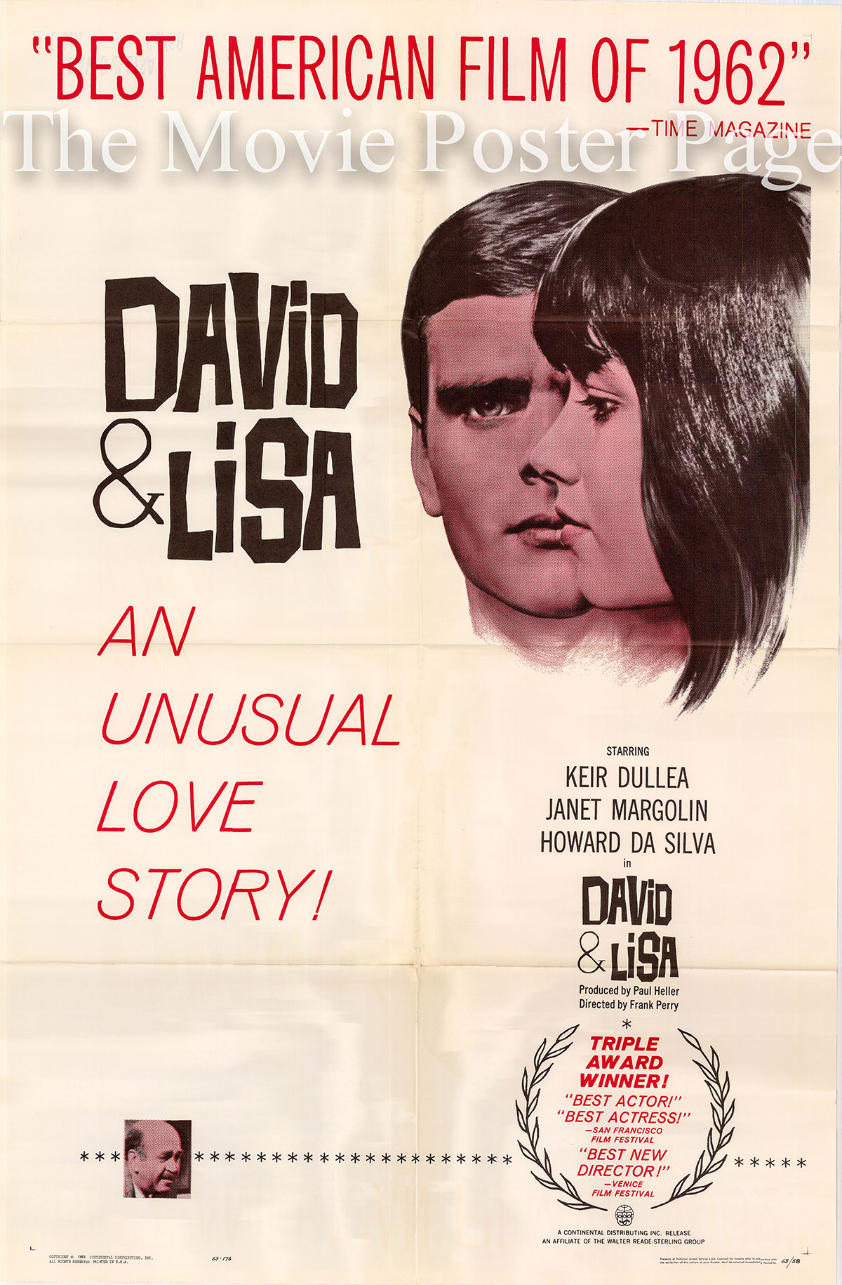 Pictured is a US one-sheet poster for the 1962 Frank Perry film David and Lisa starring Keir Dullea.