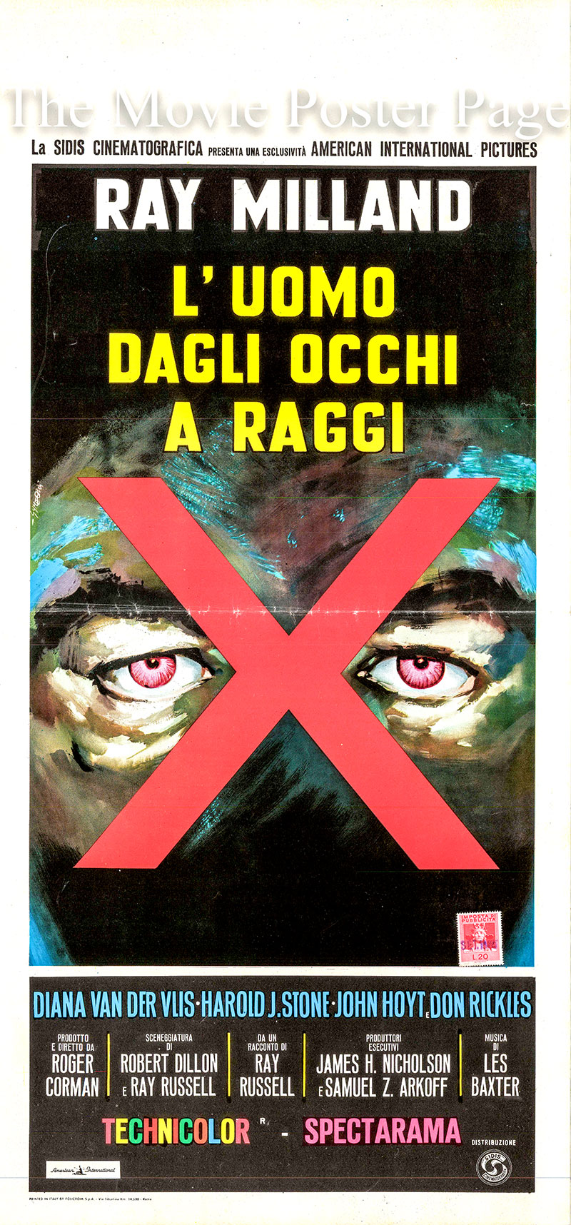 Pictured is an Italian locandina for the 1963 Roger Corman film X: The Man with the X-Ray Eyes starring Ray Milland as Dr. James Xavier.