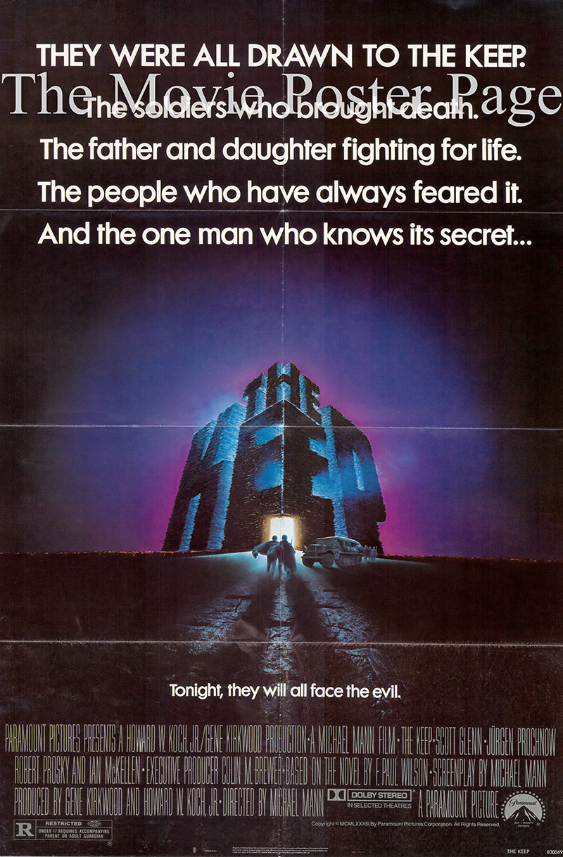 Pictured is a US one-sheet poster for the 1983 Michael Mann film The Keep starring Scott Glenn.