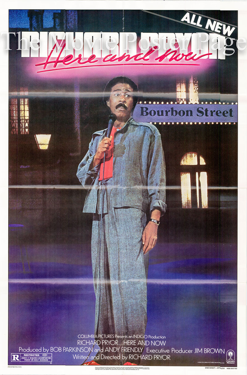 Pictured is a US one-sheet for the 1983 Richard Pryor film Here and Now starring Richard Pryor.