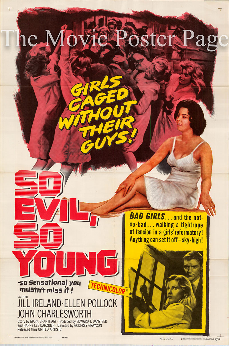 Pictured is a US one-sheet poster for the 1961 Godfrey Grayson film So Evil So Young starring Jill Ireland as Ann.