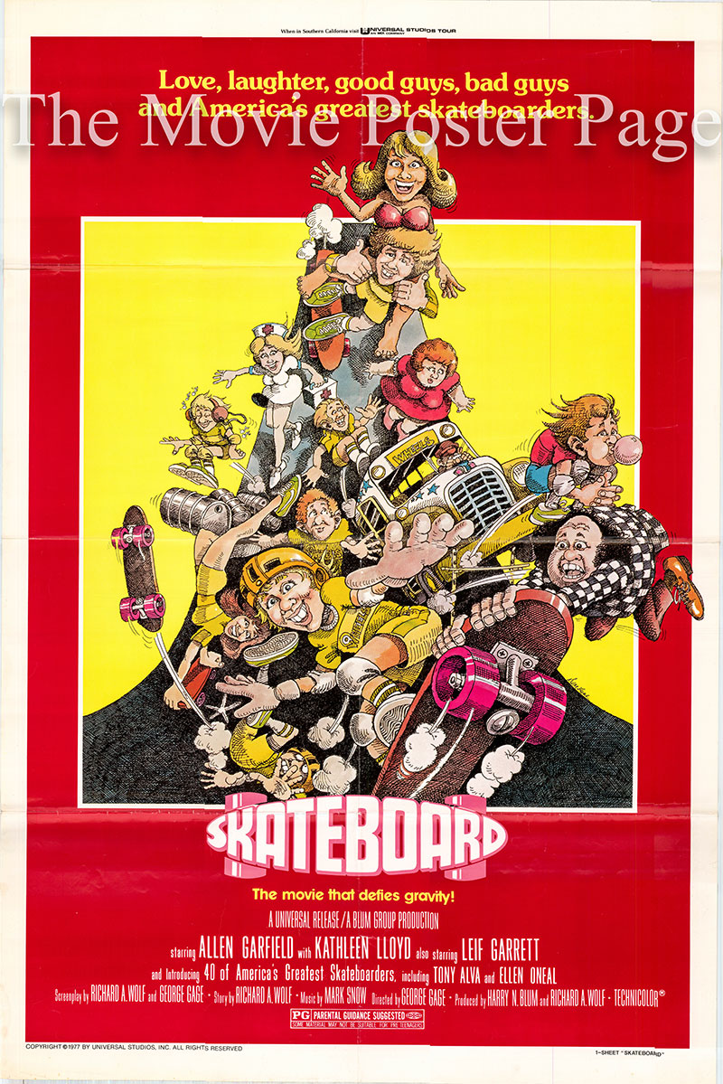 Pictured is a US one-sheet poster for the 1978 George Gage film Skateboard starring Allen Garfield as Manny Bloom.