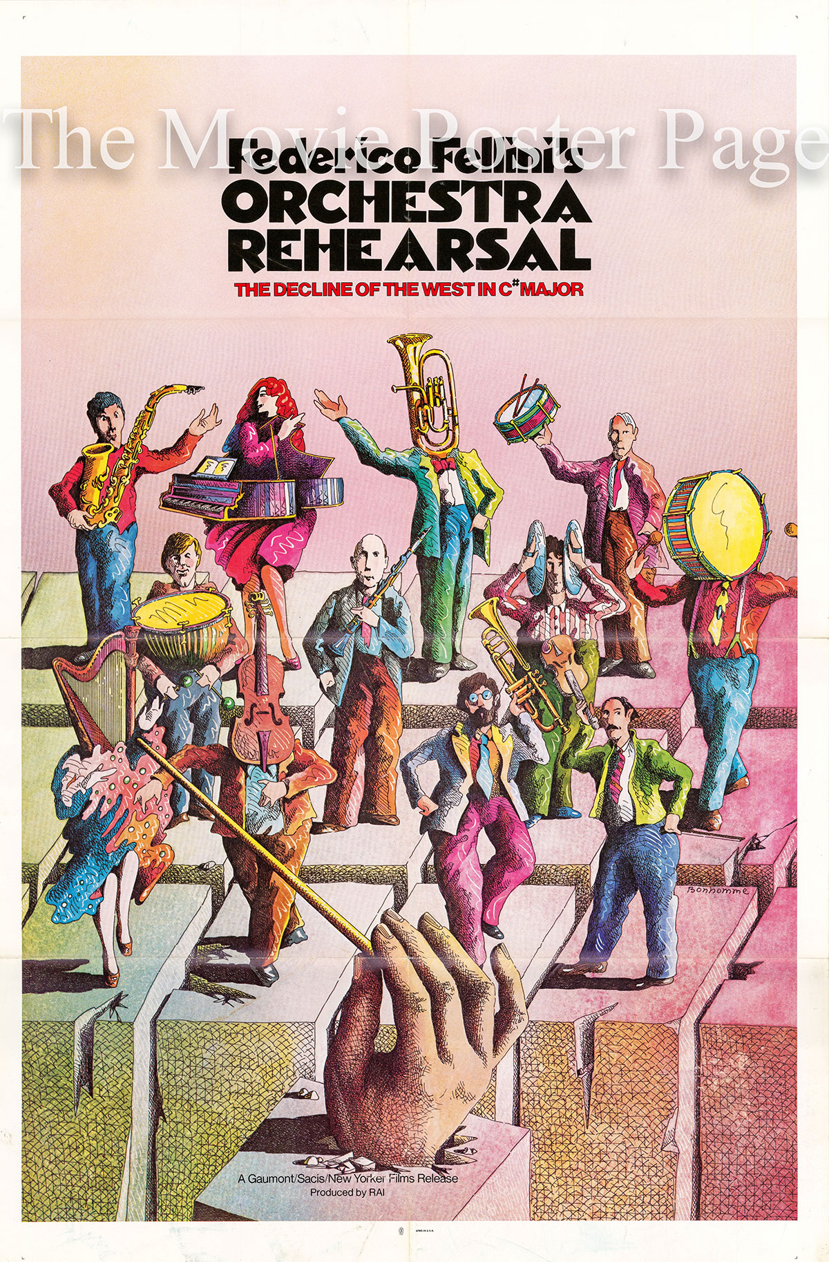 Pictured is a US one-sheet poster for the 1978 Federico Fellini film Orchestra Rehearsal starring Balduin Baas as the conductor.