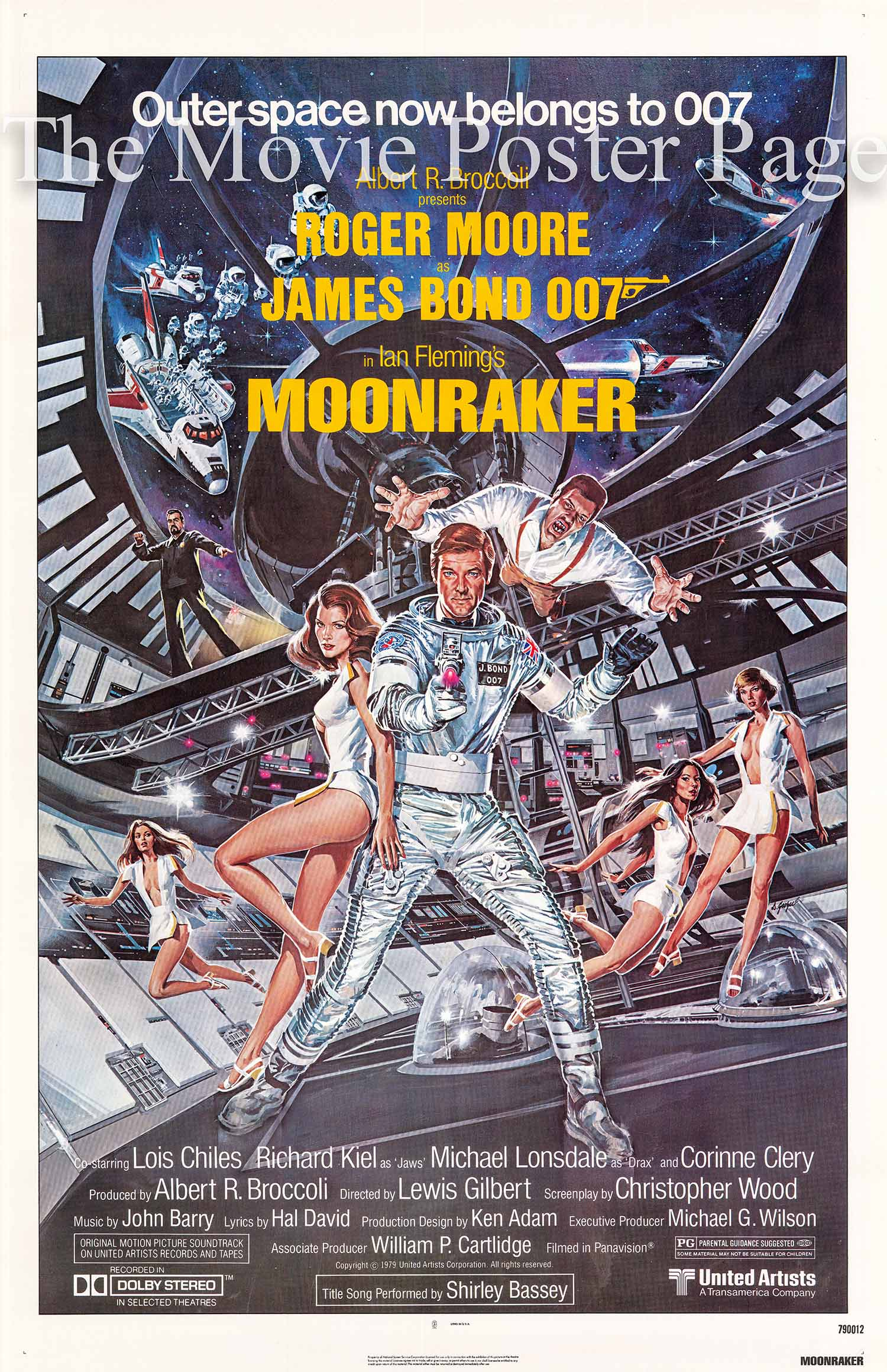 This is a US one-sheet promotional poster with art by Dan Gouzee for the 1979 Lewis Gilbert film Moonraker starring Roger Moore as James Bond.