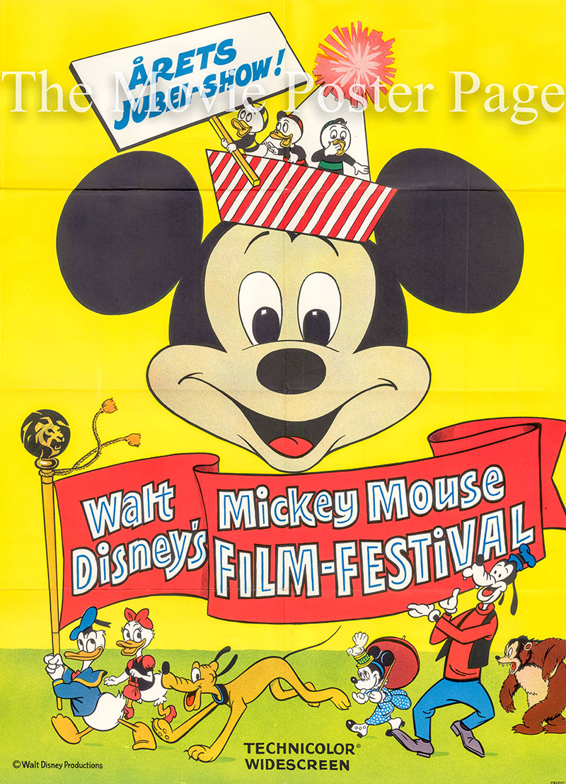 Pictured is a Danish one-sheet poster for the 1968 William Beaudine and Ward Kimball film Mickey Mouse Film Festival starring Dean Jones as the Narrator.