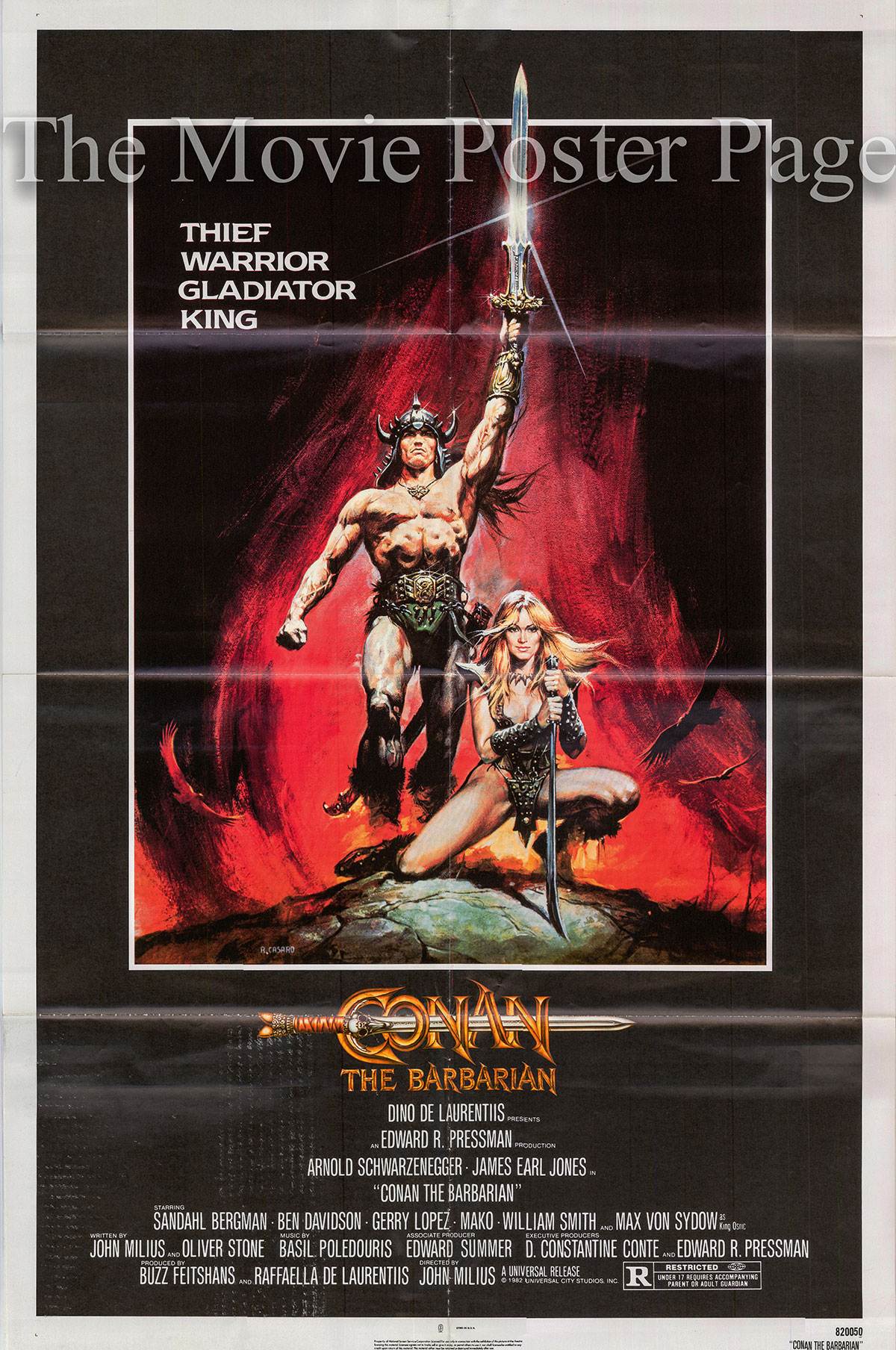 Pictured is a US one-sheet poster fot the 1982 John Milius film Conan the Barbarian starring Arnold Schwarzenegger.