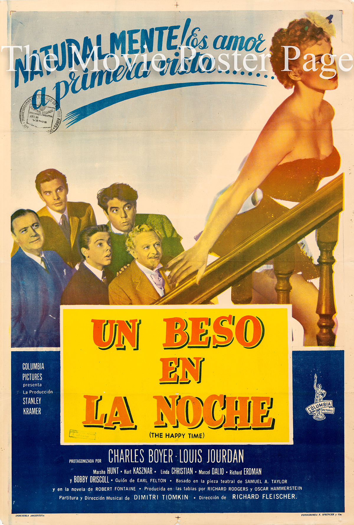 Pictured is an Argentine one-sheet poster for the 1952 Richard Fleischer film The Happy Time starring Charles Boyer as Jacques Bonnard.
