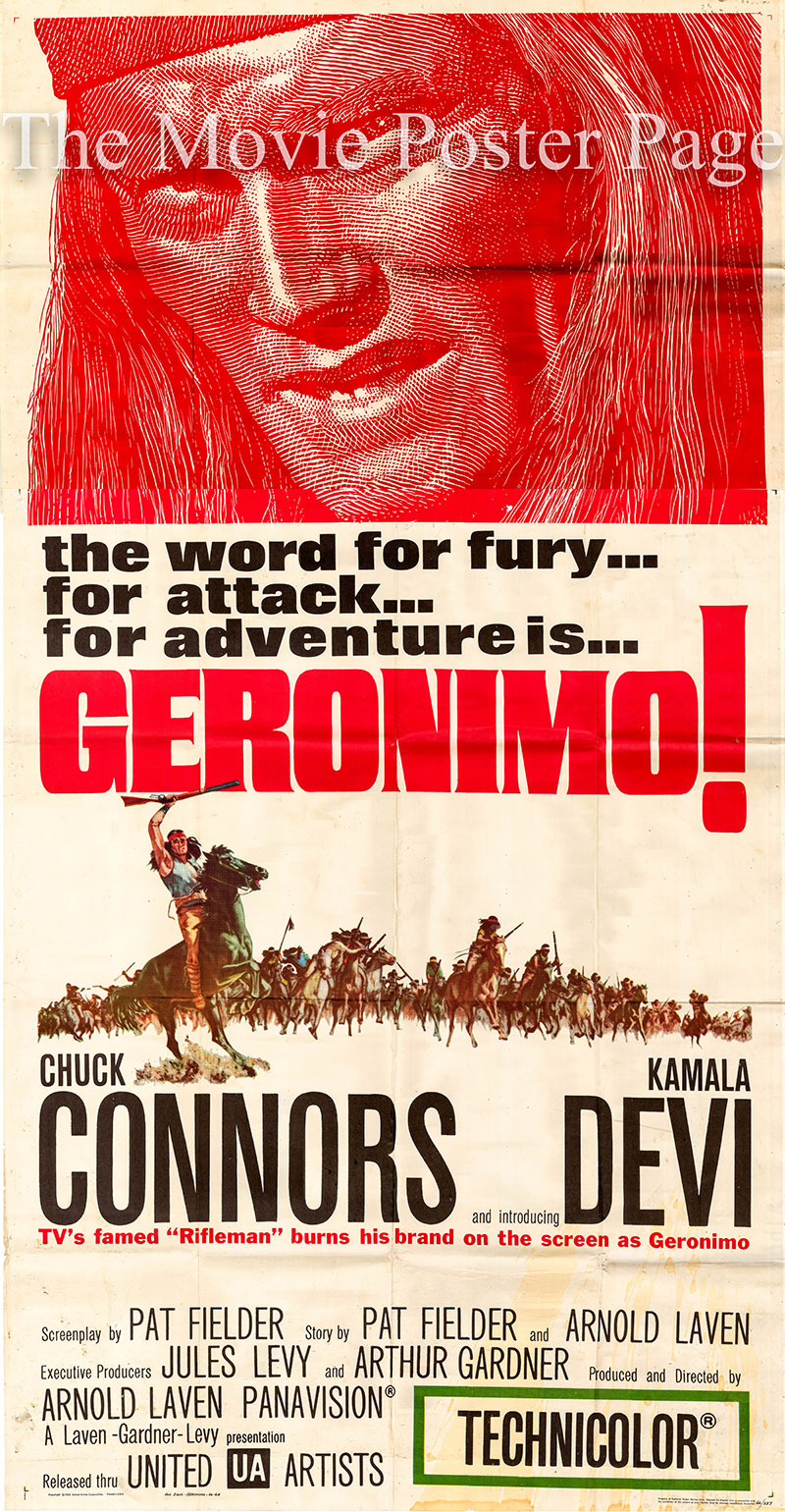 Pictured is a US three-sheet poster for the 1962 Arnold Laven film Geronimo starring Chuck Connors.