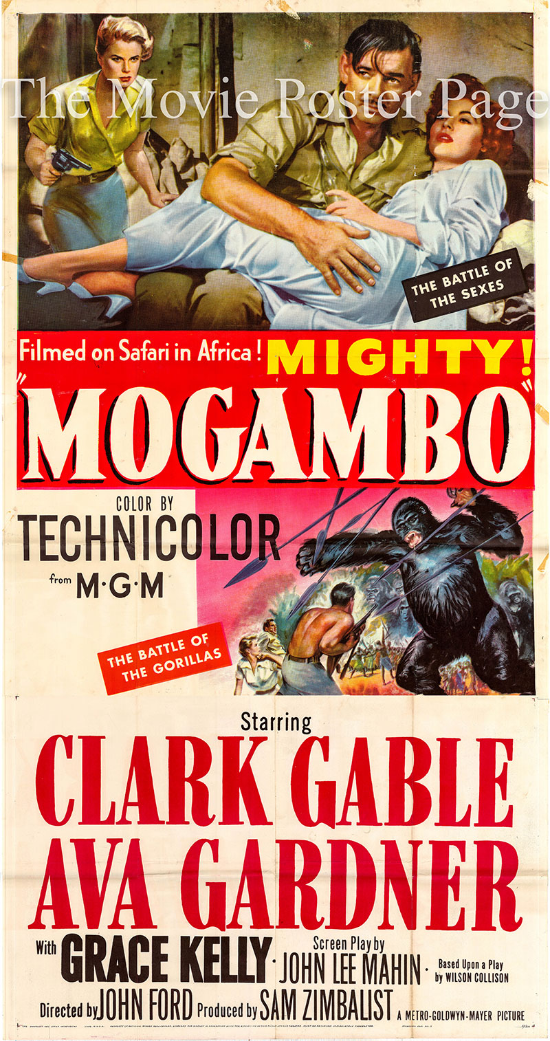 Pictured is a US three-sheet promotional poster for the 1953 John Ford film Mogambo starring Clark Gable as Victor Marswell.