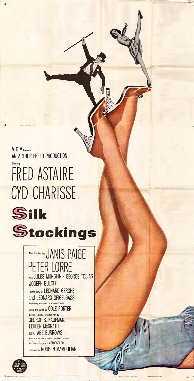 Pictured is a US three-sheet poster for the 1957 Rouben Mamoulian film Silk Stockings starring Fred Astaire as Steve Canfield.