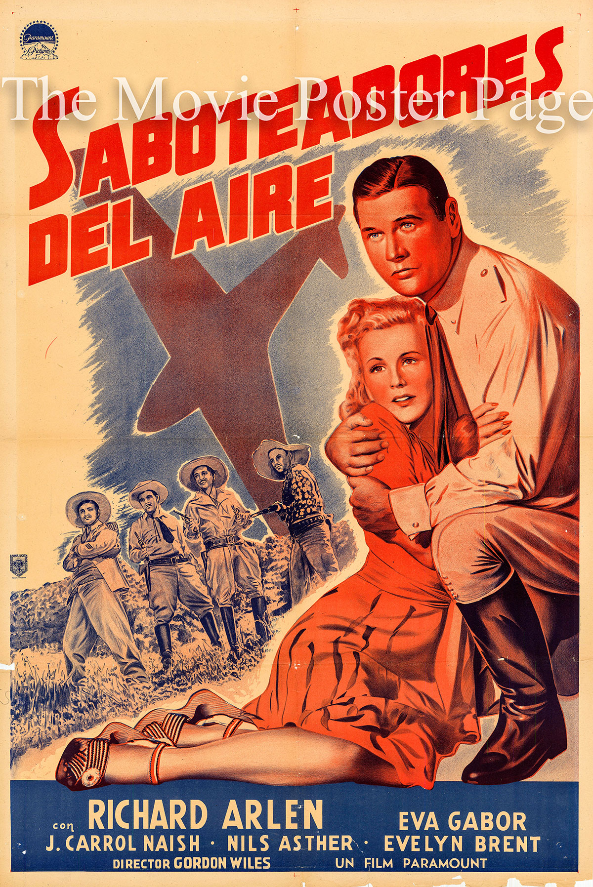 Pictured is an Argentine poster for the 1941 Gordon Wiles film Forced Landing starring Richard Arlen as Dan Kendall.