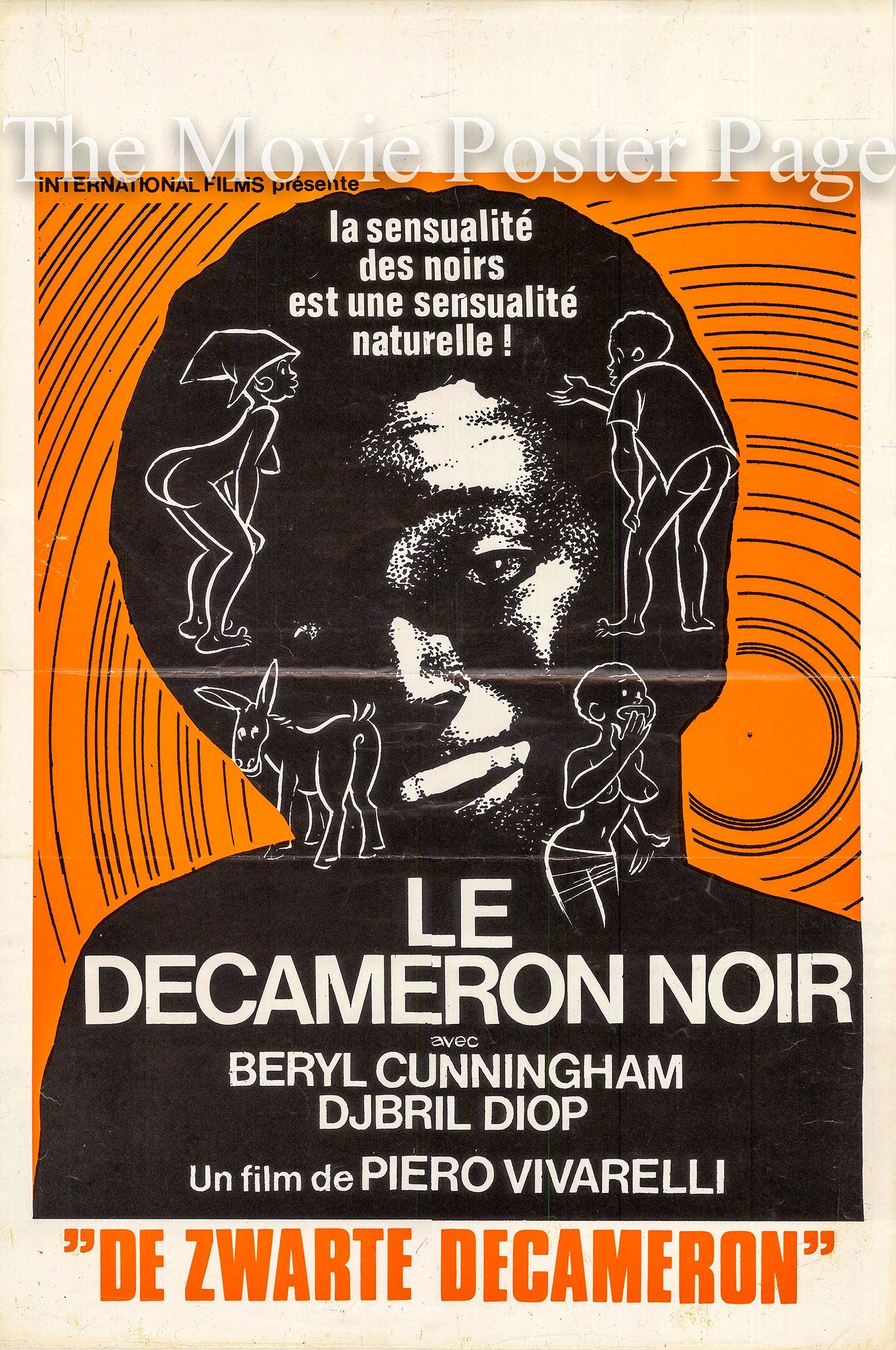 Pictured is a Belgian poster for the 1972 Piero Vivarelli film The Black Decameron starring Beryl Cunningham.