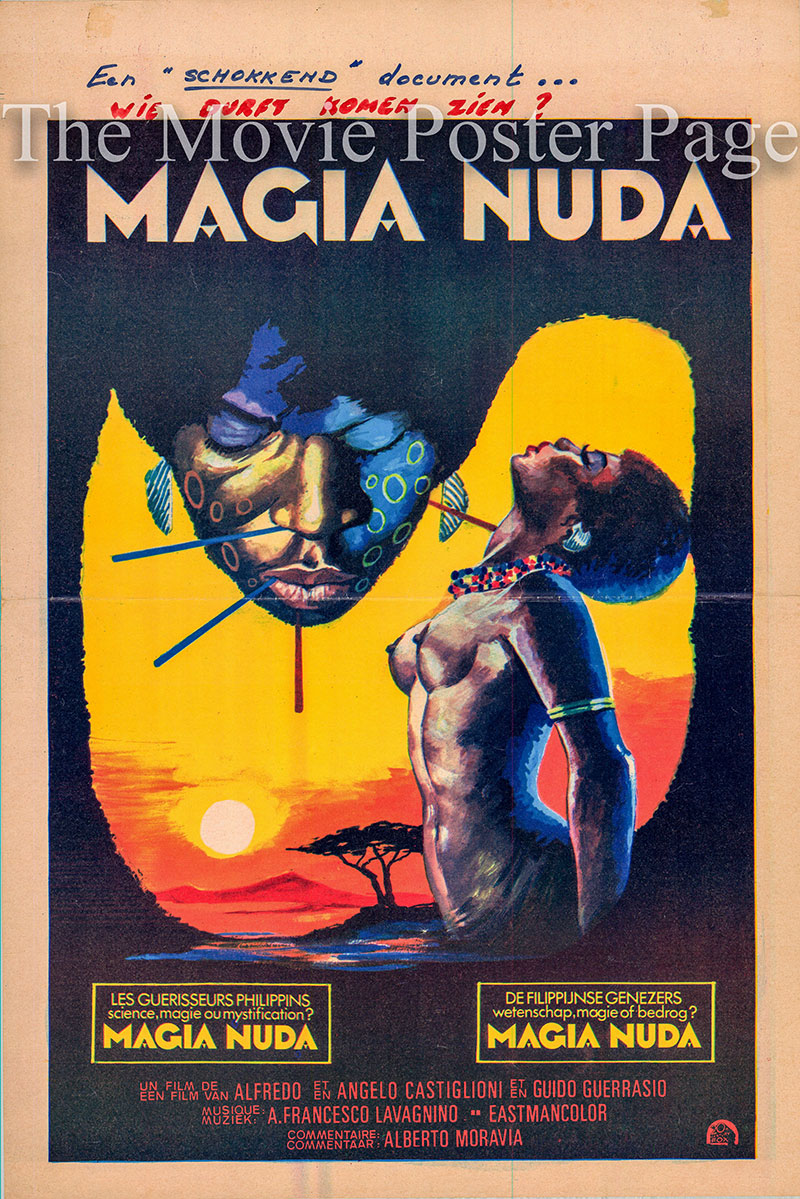 Pictured is a Belgian promotional poster for the 1975 Alfredo Castiglioni film Mondo Magic starring Mac Mauro Smith as the Narrator