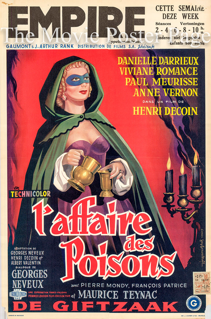 Pictured is a Belgian promotional poster for the 1955 Henry Decoin film Poison Affair starring Danielle Darrieux.