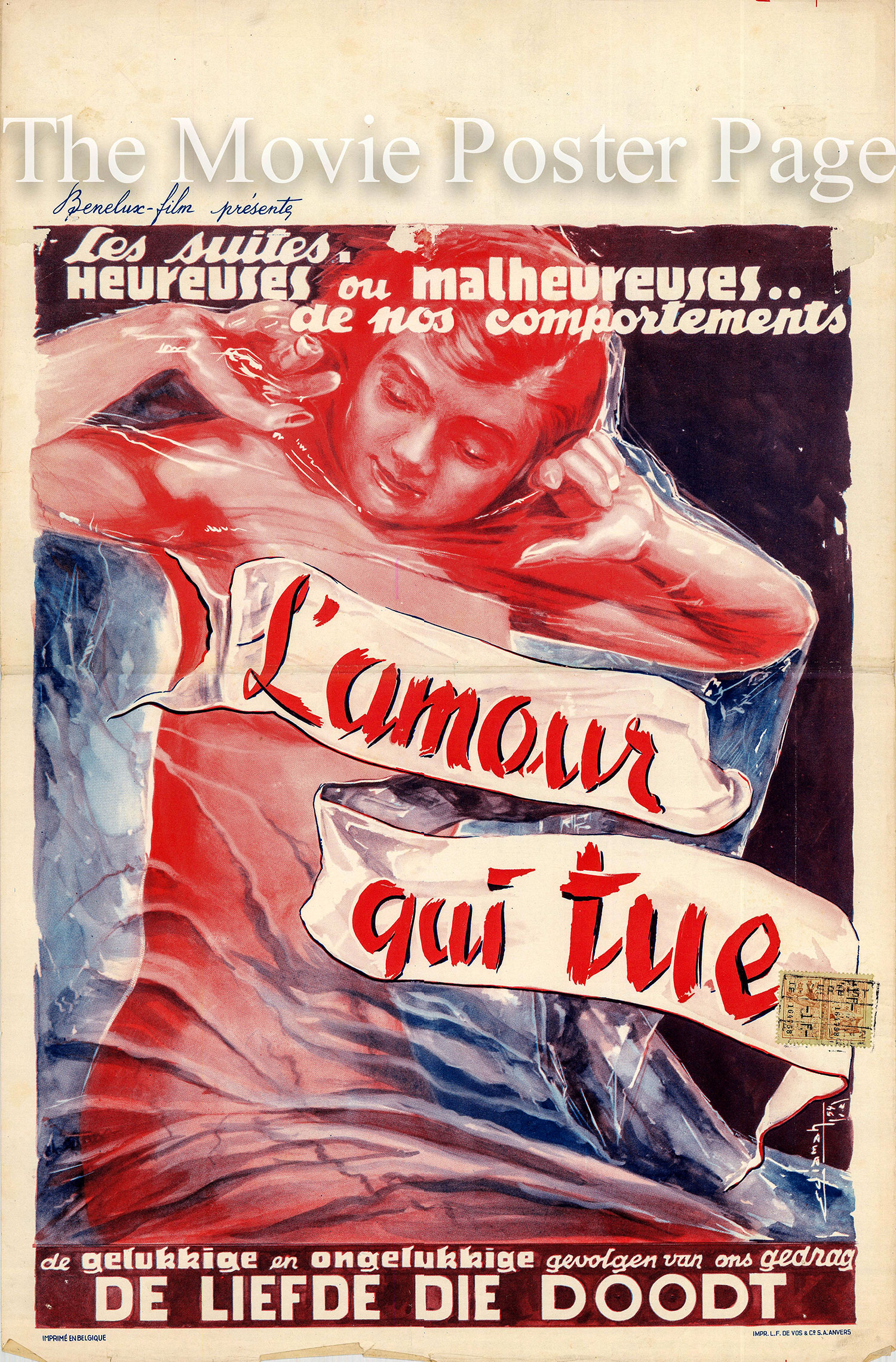 Pictured is a Belgian promotional poster for the 1982 Laurent Heynemann film L'amour qui tue starring Florence Mancini.