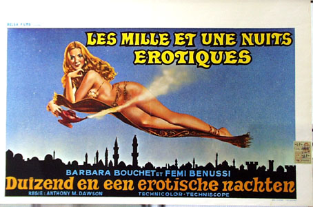 Pictured is a Belgian promotional poster for the 1972 Anthony M. Dawson film House of 1,000 Pleasures starring Barbara Bouchet.