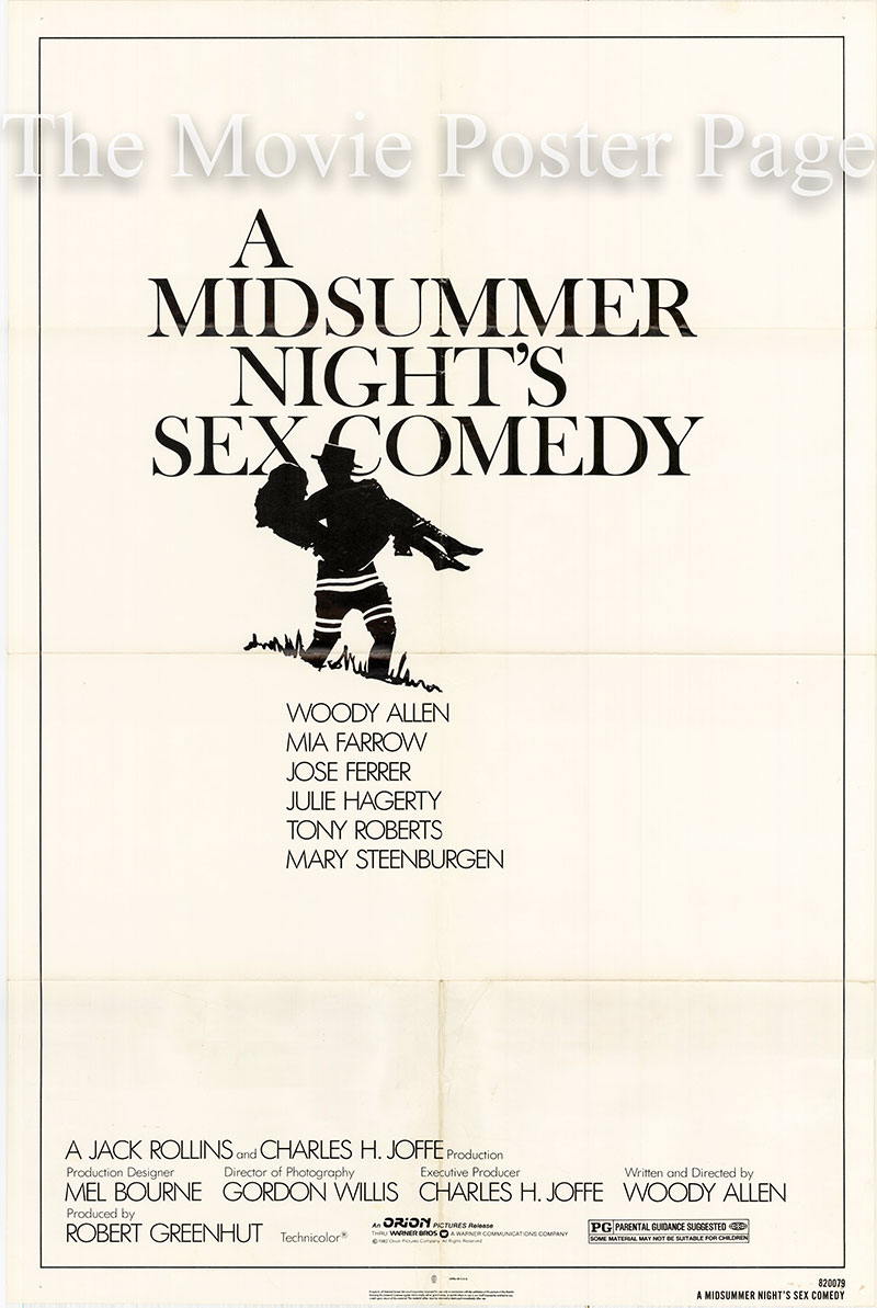 Pictured is a US one-sheet poster for the 1982 Woody Allen film A Midsummer Night's Sex Comedy.