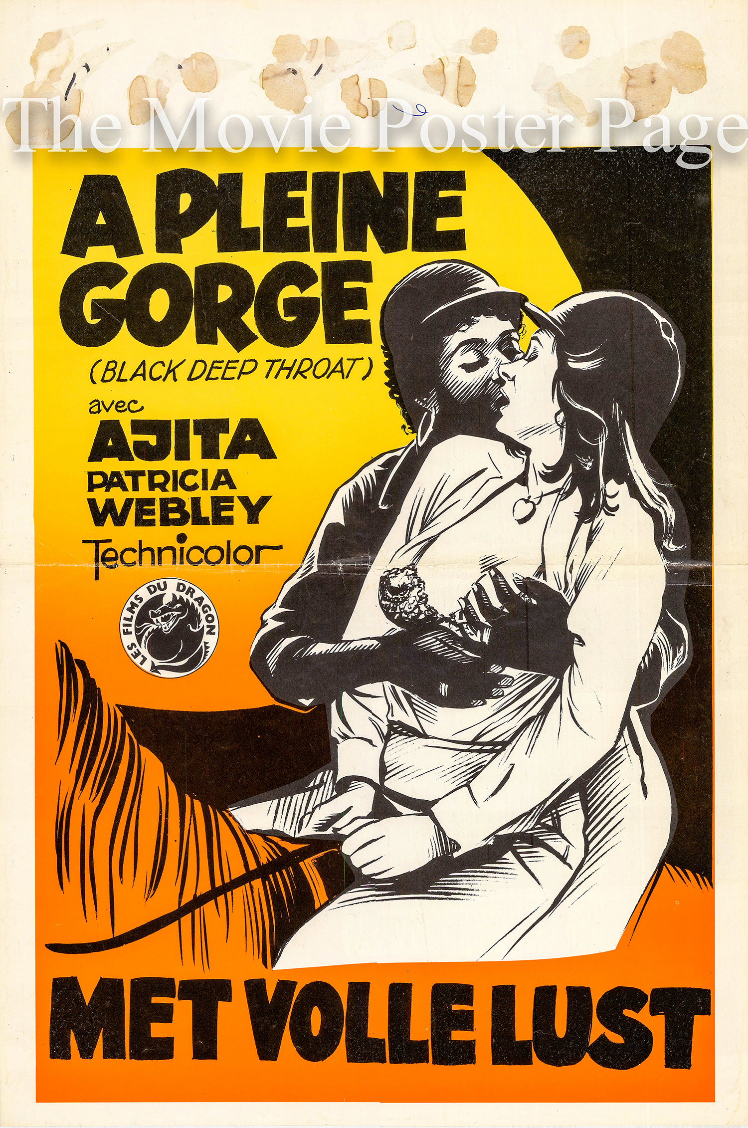 Pictured is a Belgian poster for the 1977 Guido Zurli film Black Deep Throat starring Patrizia Webley as Angelica.