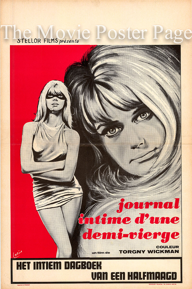 Pictured is a Belgian poster for the 1969 Torgny Wickman film Eva: Diary of a Half-Virgin starring Solveig Andersson as Eva Blom.