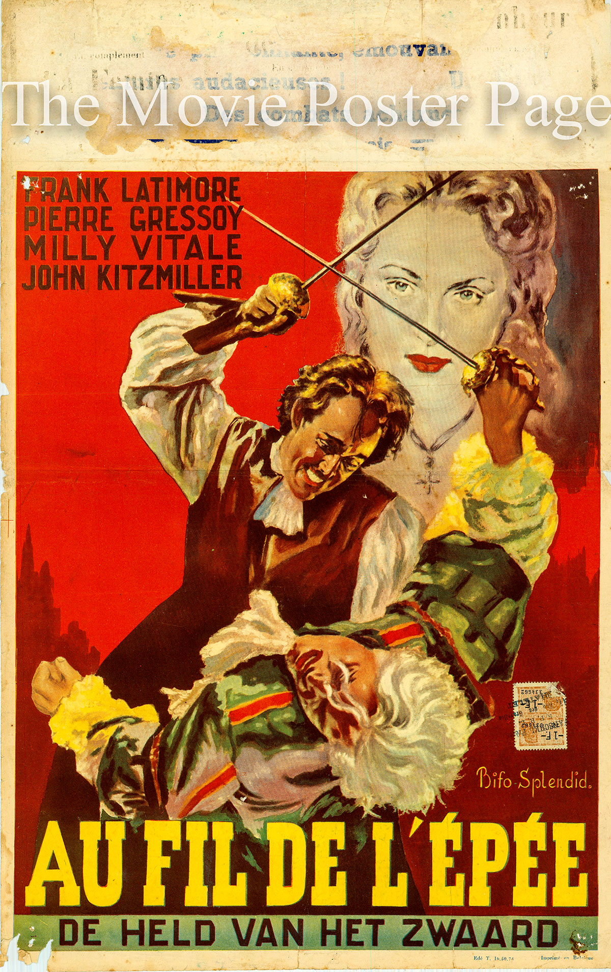Pictured is a Belgian promotional poster for the 1952 Carlo Ludovico Bragaglia film At Sword's Edge starring Frank Latimore as Don Ruy.