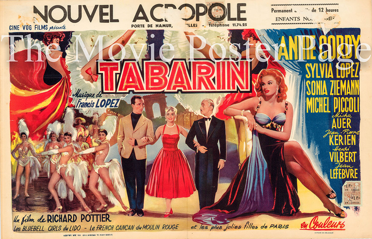 Pictured is a Belgian poster for the 1958 Richard Pottier film Tabarin starring Michel Picolli as Jacques Forestier.