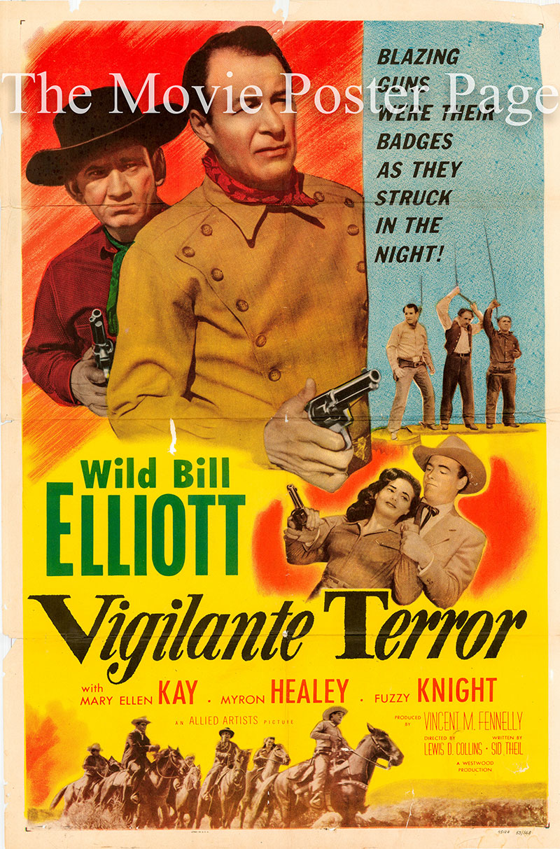 Pictured is a US one-sheet poster for the 1953 Lewis D. Collins film Vigilate Terror starring Bill elliott as Tack Hamlin.