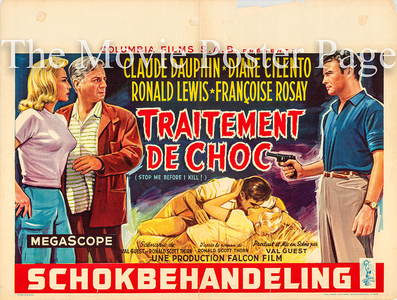 Pictured is a Belgian promotional poster for the 1960 Val Guest film The Full Treatment starring Claude Dauphin as David Prade.