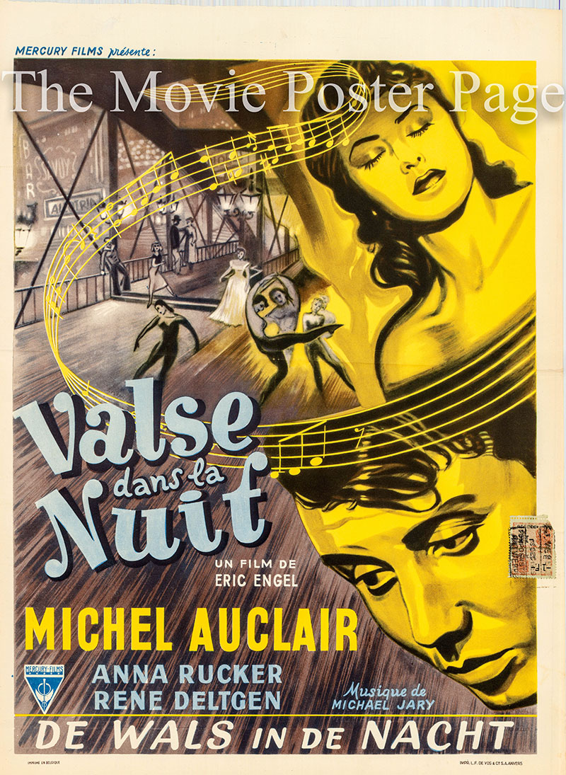 Pictured is a Belgian poster for the 1952 Erich Engel film Unter den tausend Laternen starring Michael Auclair as Michel Dumas.