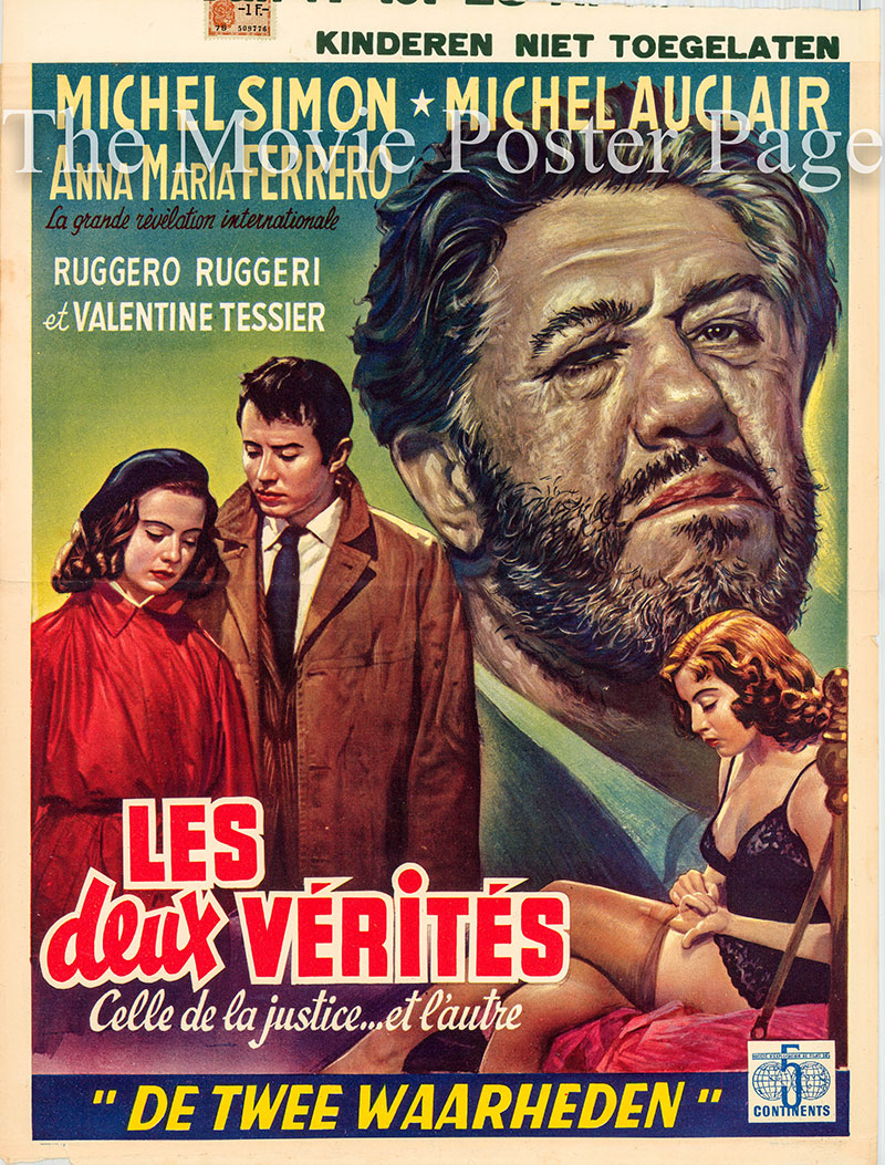 Pictured is a Belgian poster for the 1952 Antonio Leonviola film The Two Truths starring Anna Maria Ferrero as Maria-Luce Carlinet.