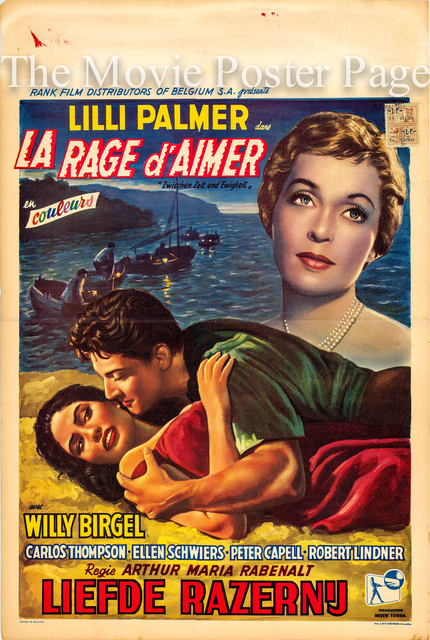 Pictured is a Beligian promotional poster for the 1956 ARthur Maria Rabenalt film Between Time and Eternity starring Lilli Palmer.