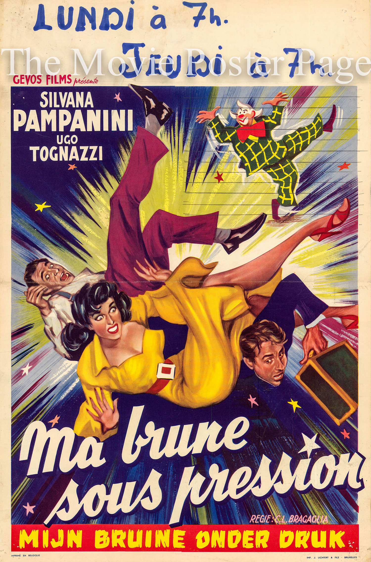 Pictured is a Belgian promotional poster for the 1951 Carlo Ludovico Bragaglia film Una Bruna Indiavolata, starring Silvana Pampanini.