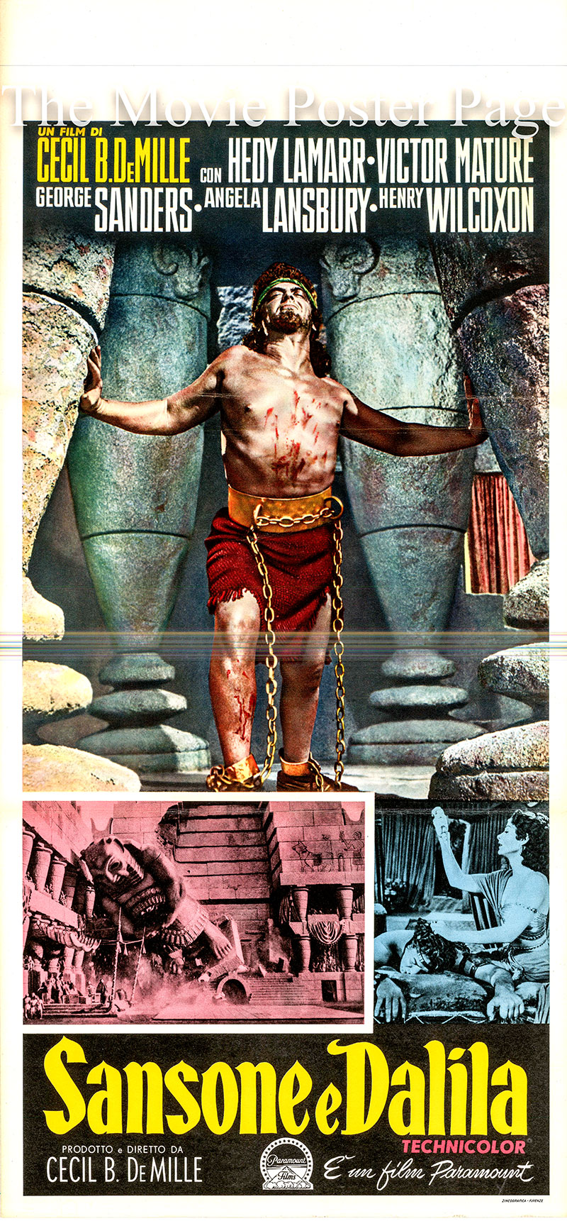 Pictured is an Italian locandina poster for the 1949 Cecil B. DeMille film Samson and Delilah starring Victor Mature as Samson.
