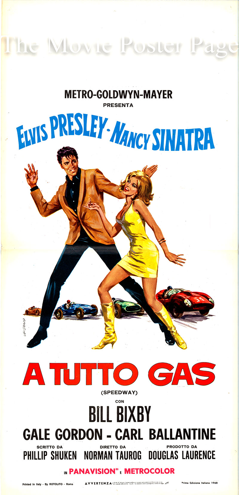 Pictured is an Italian locandina poster for the 1968 Norman Taurog film Speedway written by Phil Shuken and starring Elvis Presley as Steve Grayson.