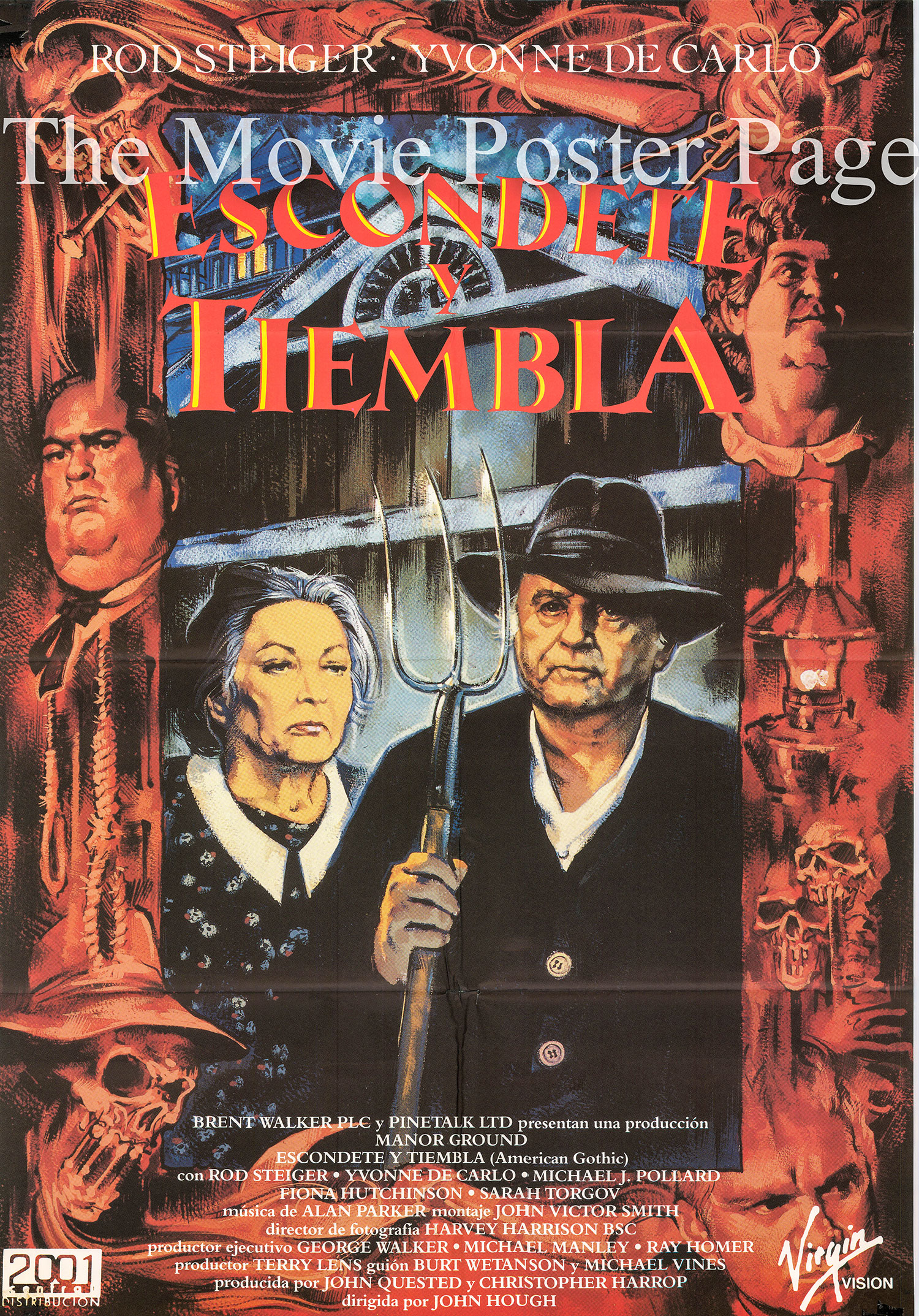 Pictured is a Spanish one-sheet for the 1988 John Hough film America Gothic starring Rod Steiger.