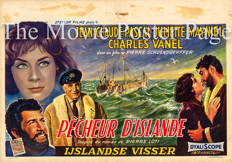 Pictured is a Belgian promotional poster for the 1959 Pierre Schoendoerffer film Island Fishermen starring Jean-Claude Pascal.