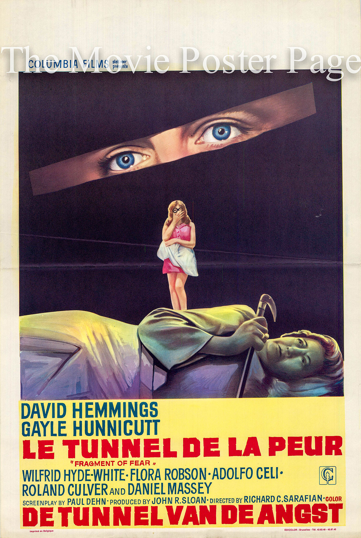 Pictured is a Belgian poster for the Richard C. Sarafian film Fragment of Fear starring David Hemmings as Tim Brett.
