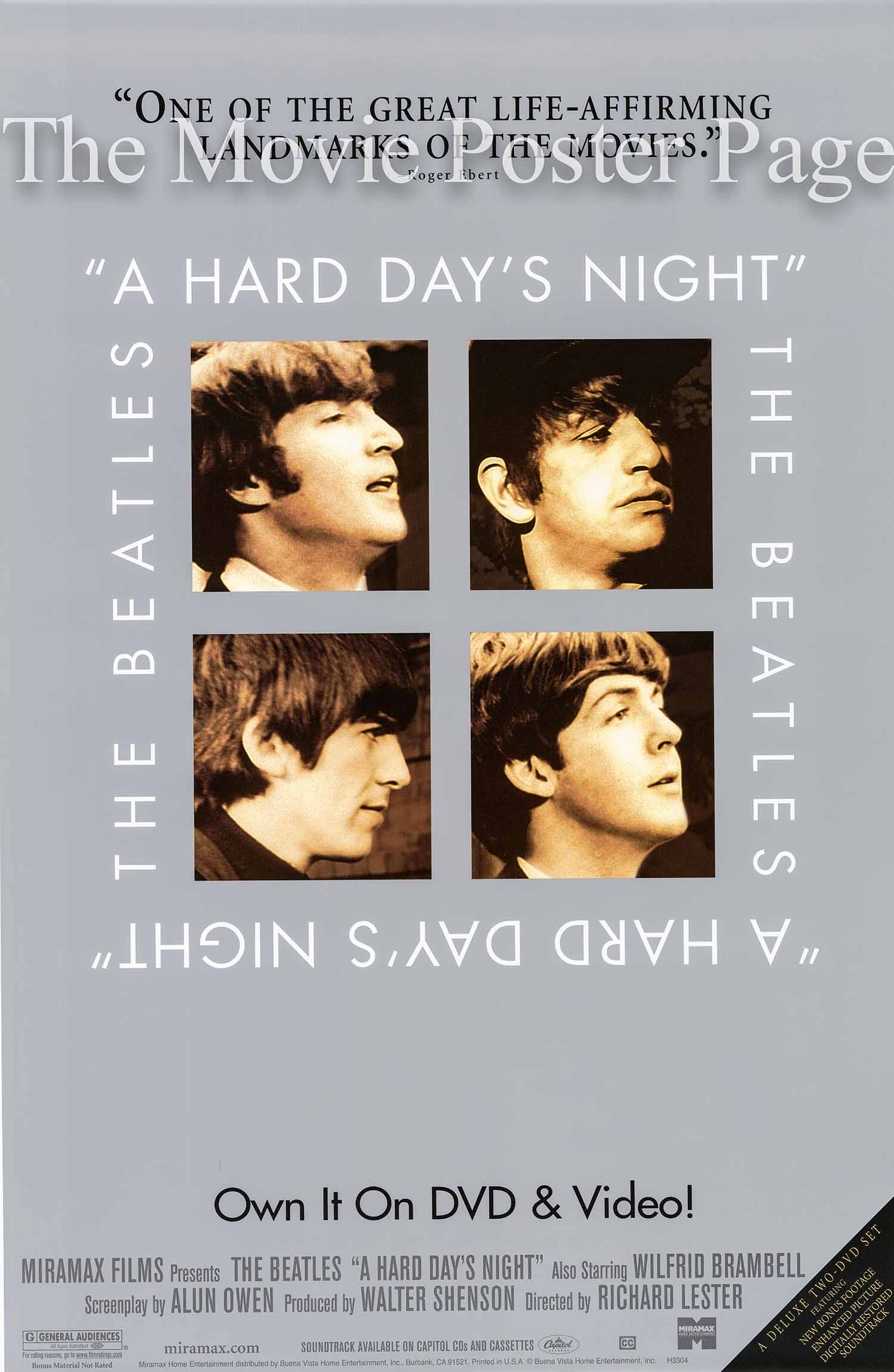 Pictured is a DVD promotional poster for a 2002 rerelease of the 1964 Richard Lester film A Hard Day's Night Starring the Beatles.