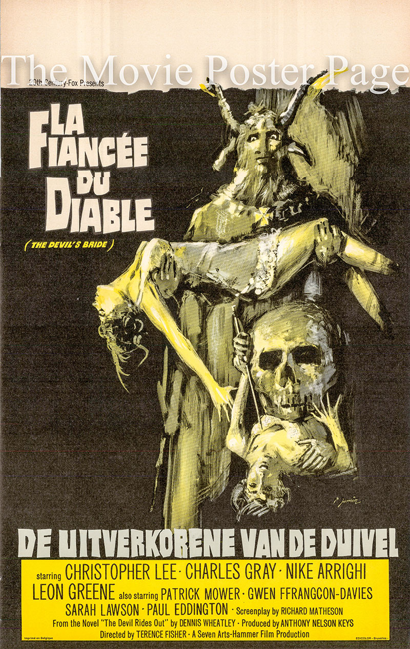 Pictured is a Belgian poster for the 1958 Terence Fisher film The Devil Rides Out starring Christopher Lee as Nicholas, Duc de Richleau.
