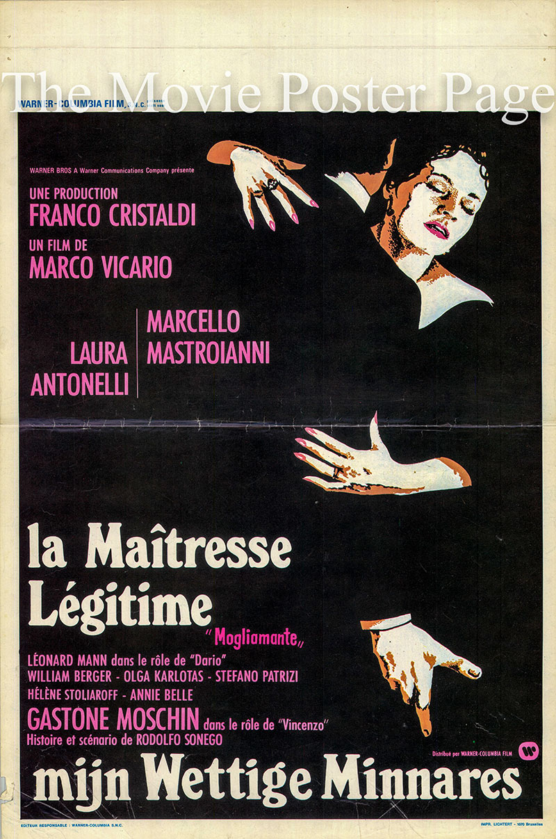 Pictured is a Belgian poster for the 1977 Marco Vicario film Love, Wife starring Marcello Mastroianni.