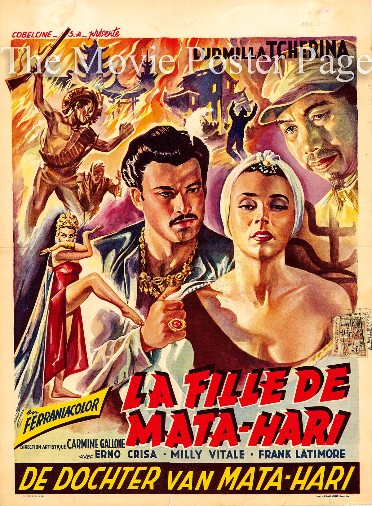Pictured is a Belgian promotional poster for the 1954 Renzo Merusi and Carmine Gallone film Mata Hari\'s Daughter starring Ludmilla Tcherina.