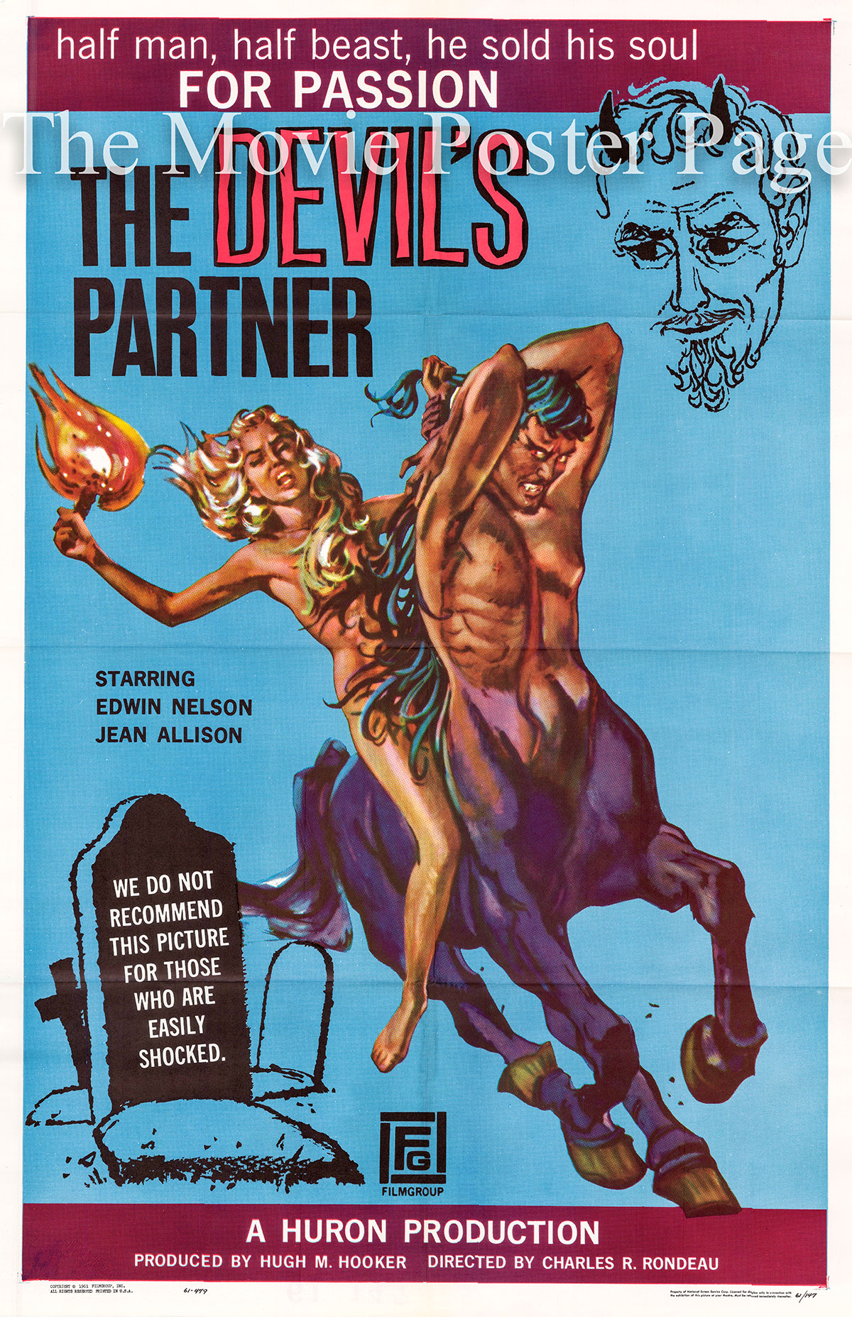 Pictured is a US promotional one-sheet poster for the 1961 Charles R. Rondeau film The Devil's Partner, starring Edwin Nelson as Nick Richards and Pete Jensen.