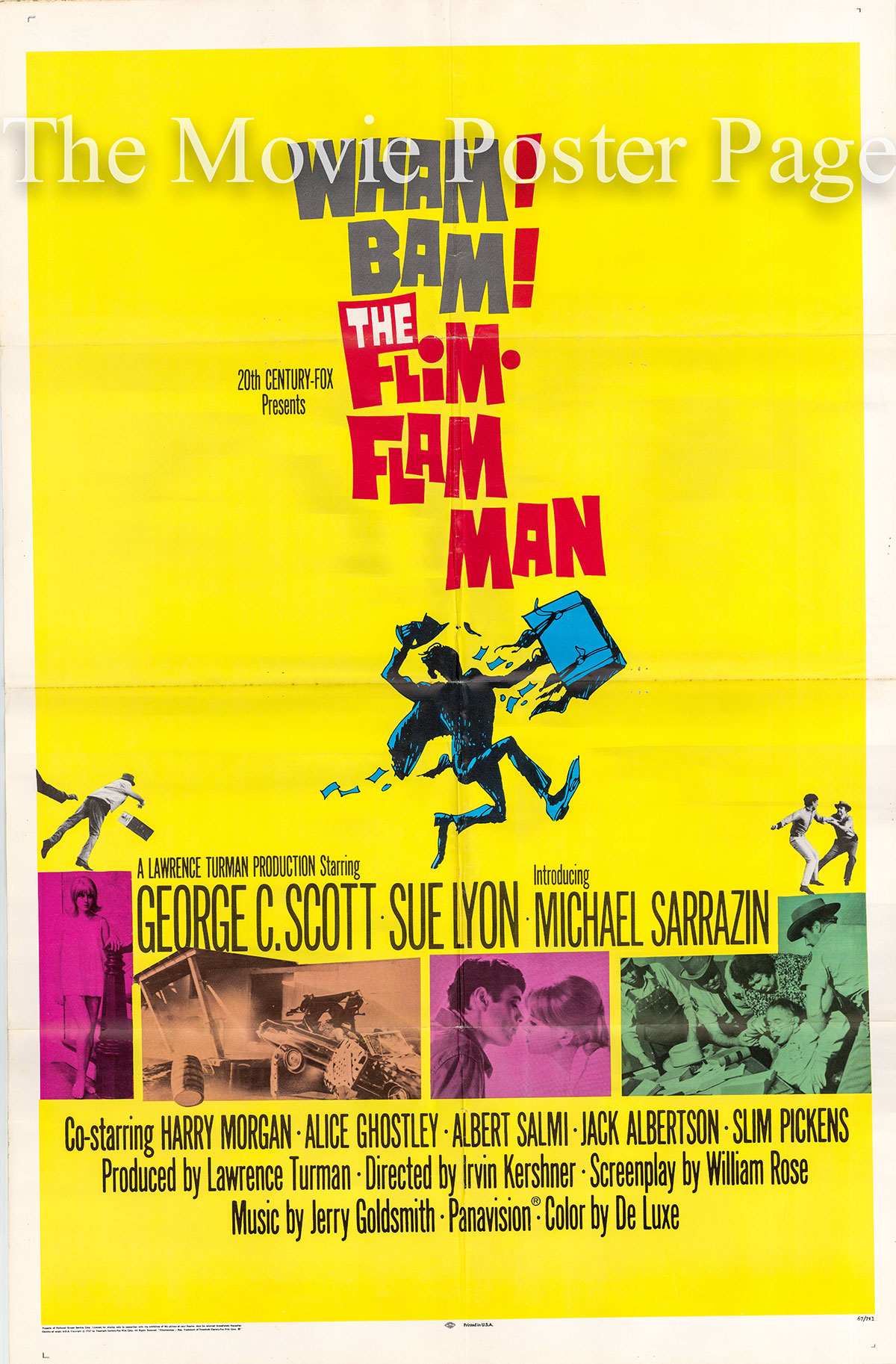 Pictured is a US promotional one-sheet poster for the 1967 Irvin Kershner film The Flim Flam Man starring George C. Scott as Mordecai Jones.