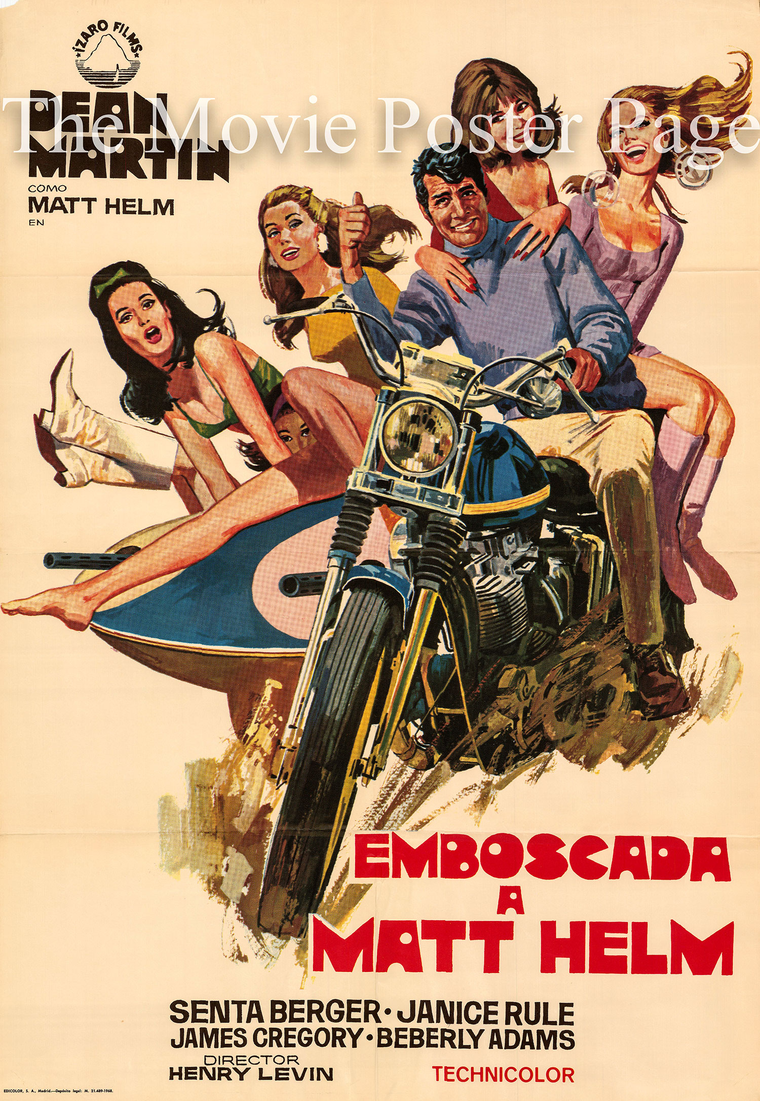 Pictured is a Spanish one-sheet printed in Madrid to promote the 1968 Henry Levin film The Ambushers starring Dean Martin as Matt Helm.