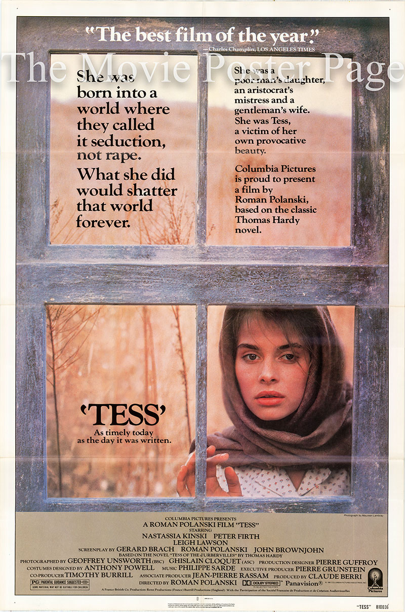 This is a US one-sheet poster for a 1981 rerelease of the 1979 Roman Polanski film Tess starring Nastassja Kinski as Tess.