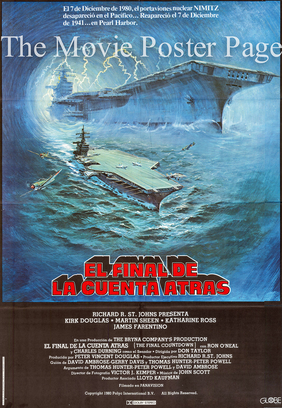 Pictured is a Spanish one-sheet poster for the 1980 Don Taylor film Final Countdown starring Kirk Douglas as Captain Matthew Yelland.